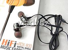 Вакуумные наушники проводные вкладыш для телефона смартфона штекер mp3 3.5 мм стальные металлические RDX 830