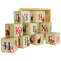 """Деревянные кубики """"Украинский алфавит с цифрами"""" (9 шт)"""