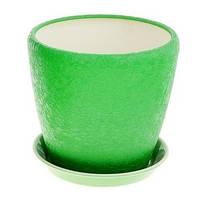 Горшок керамический для пересадки цветов Грация №2 шелк зел, фото 1