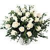 Эффектный букет белых роз и эвкалипта «Белый фреш»