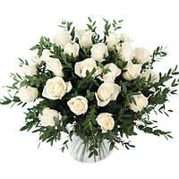 Эффектный букет роз и эвкалипта «Белый фреш», фото 1