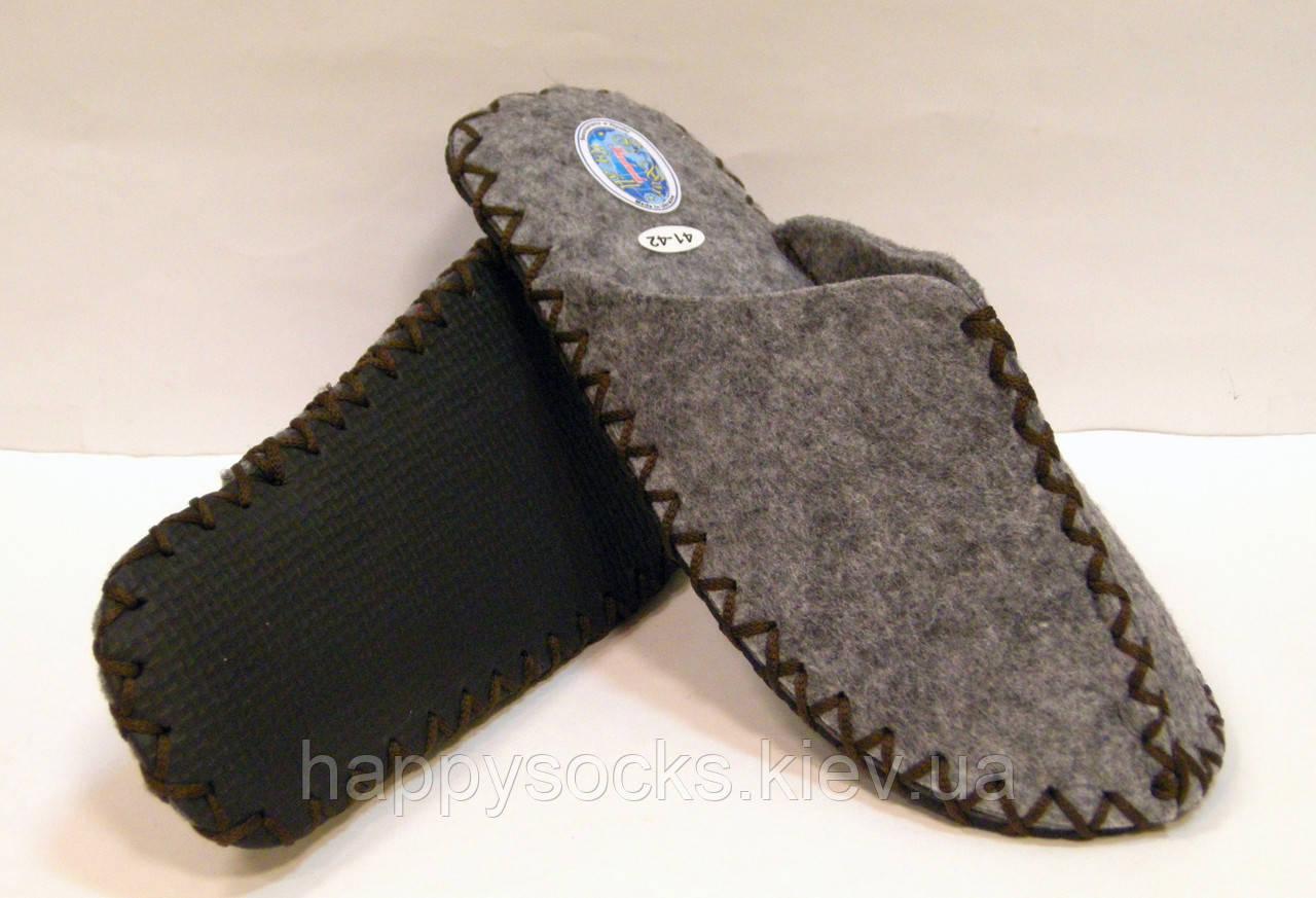 Тапочки из войлока мужские для дома с коричневым шнурком