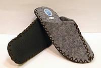 Тапочки из войлока мужские для дома с коричневым шнурком, фото 1