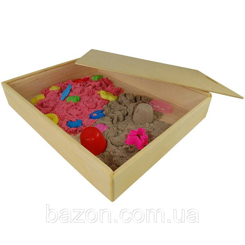 """Деревянная коробка """"Песочница для кинетического песка"""" (5 кг.) большая"""