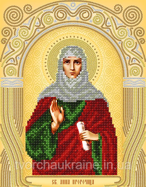 Схема на ткани для вышивания бисером Св. Анна Пророчица. А-строчка