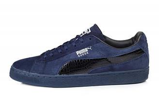 Оригинальные кроссовки мужские Puma Suede Leather Classic Navy Blue| Пума суед классик