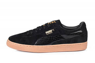 Оригинальные кроссовки мужские Puma Suede Leather Classic Black | Пума суед классик черные