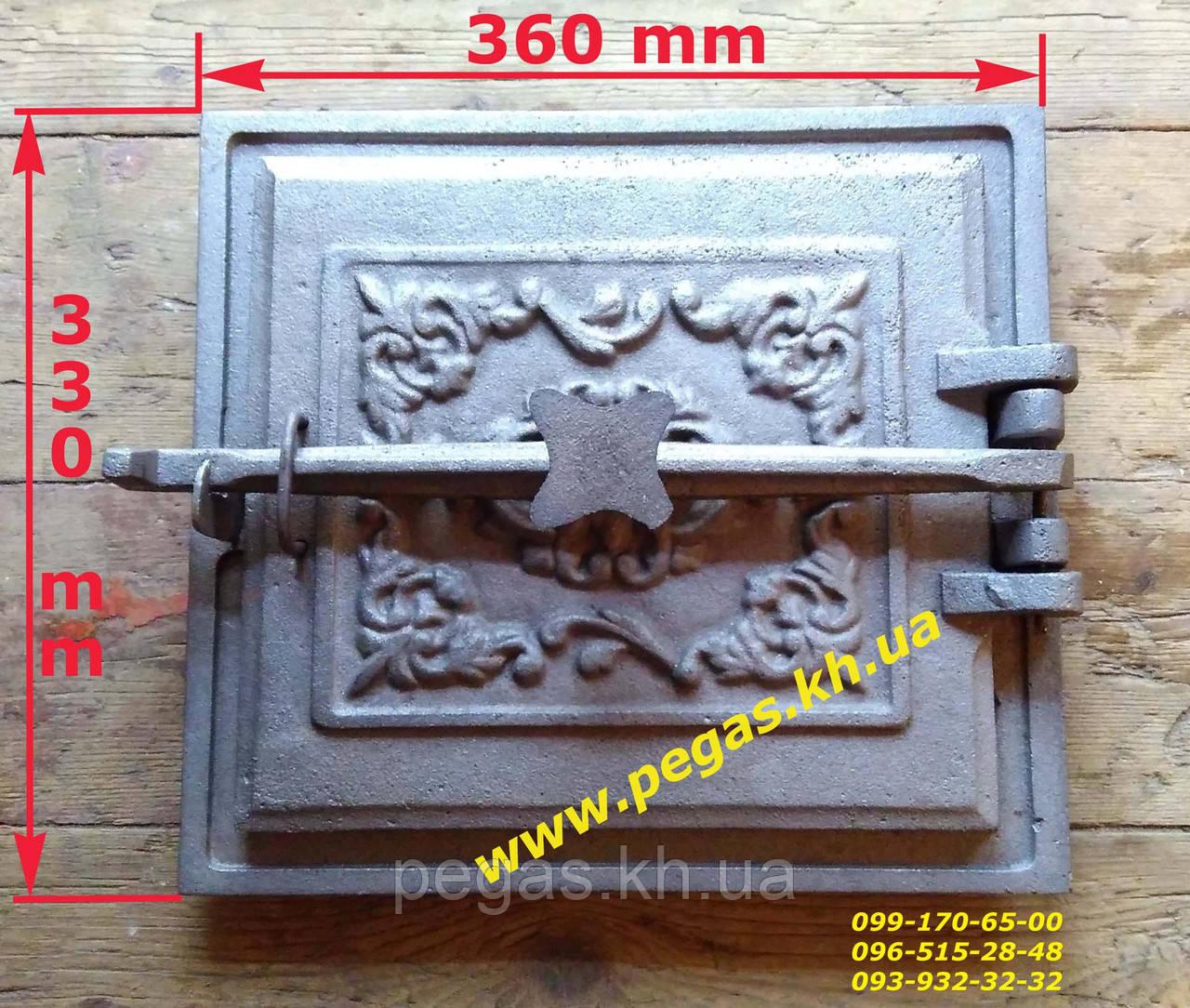Дверка большая чугунное литье (330х360 мм) грубу, печи, мангал, барбекю