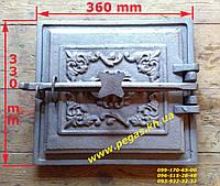 Дверка большая чугунное литье (330х360 мм) грубу, печи, мангал, барбекю, фото 1