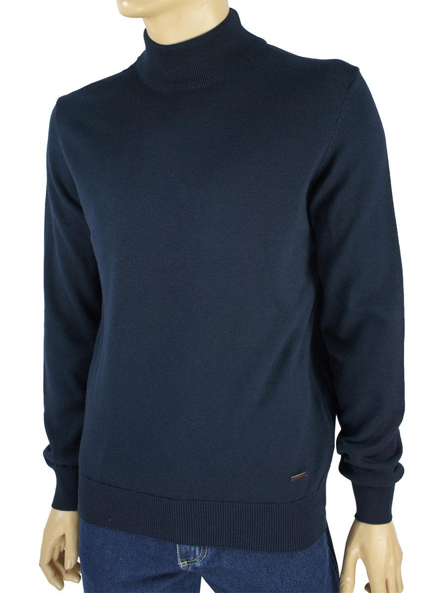 Однотонная темно-синяя водолазка для мужчин Better Life MS-1040 marine