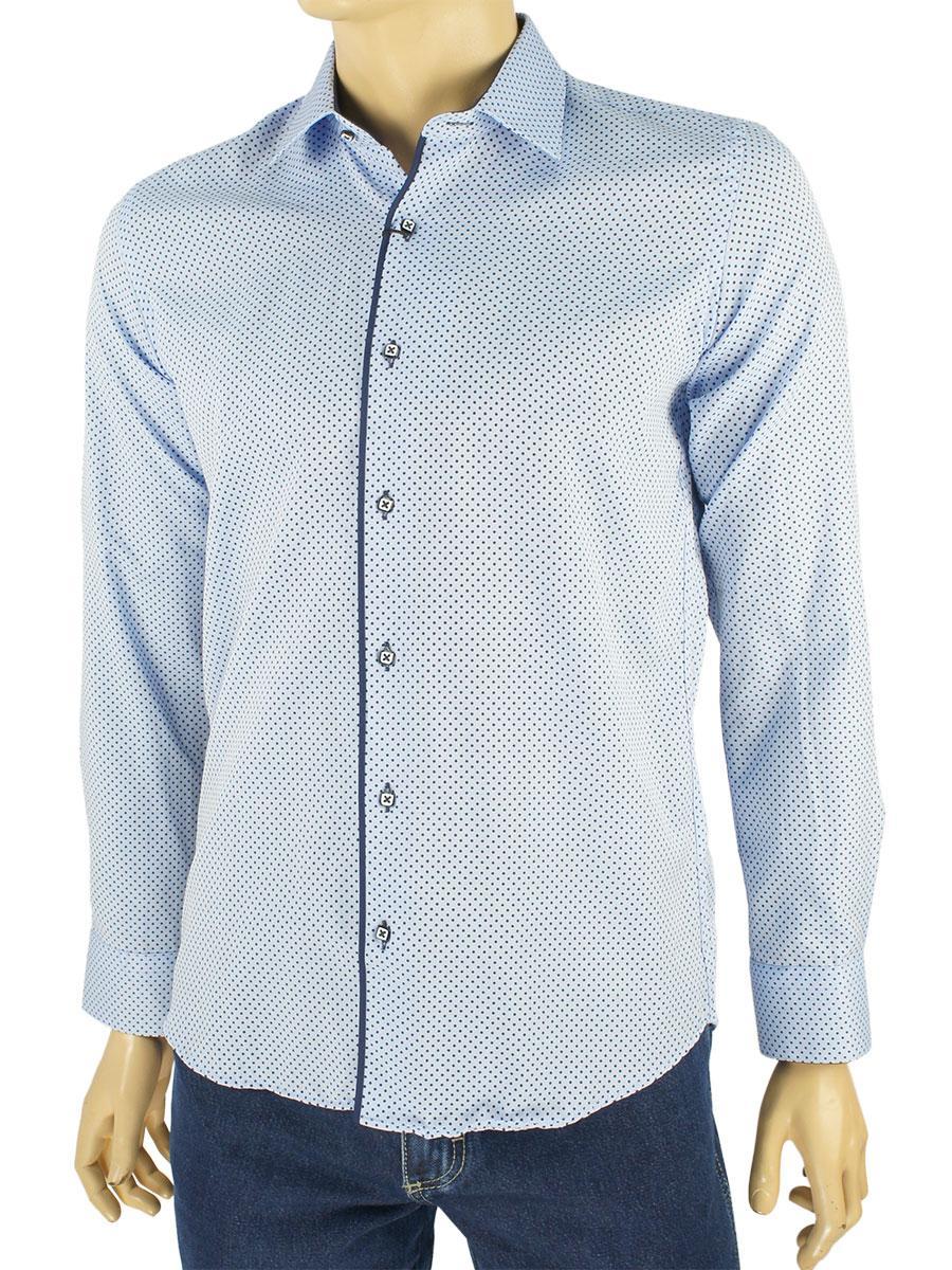 Приталенная мужская рубашка Negredo 1079 C:02 в голубом тоне