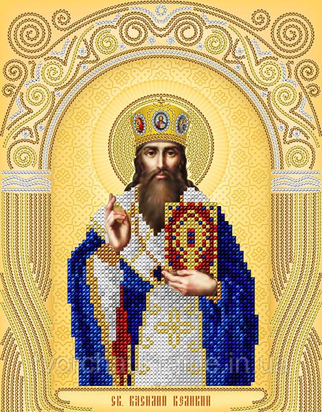 Схема на ткани для вышивания бисером Св.Василий Великий. А-строчка