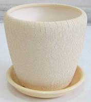 Горшок керамический для пересадки цветов Грация №3 шелк беж, фото 1