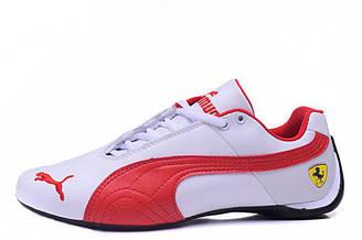 Оригинальные кроссовки мужские баскетбольные Puma Ferrari Low White Red | Пума ферари лоу - белые