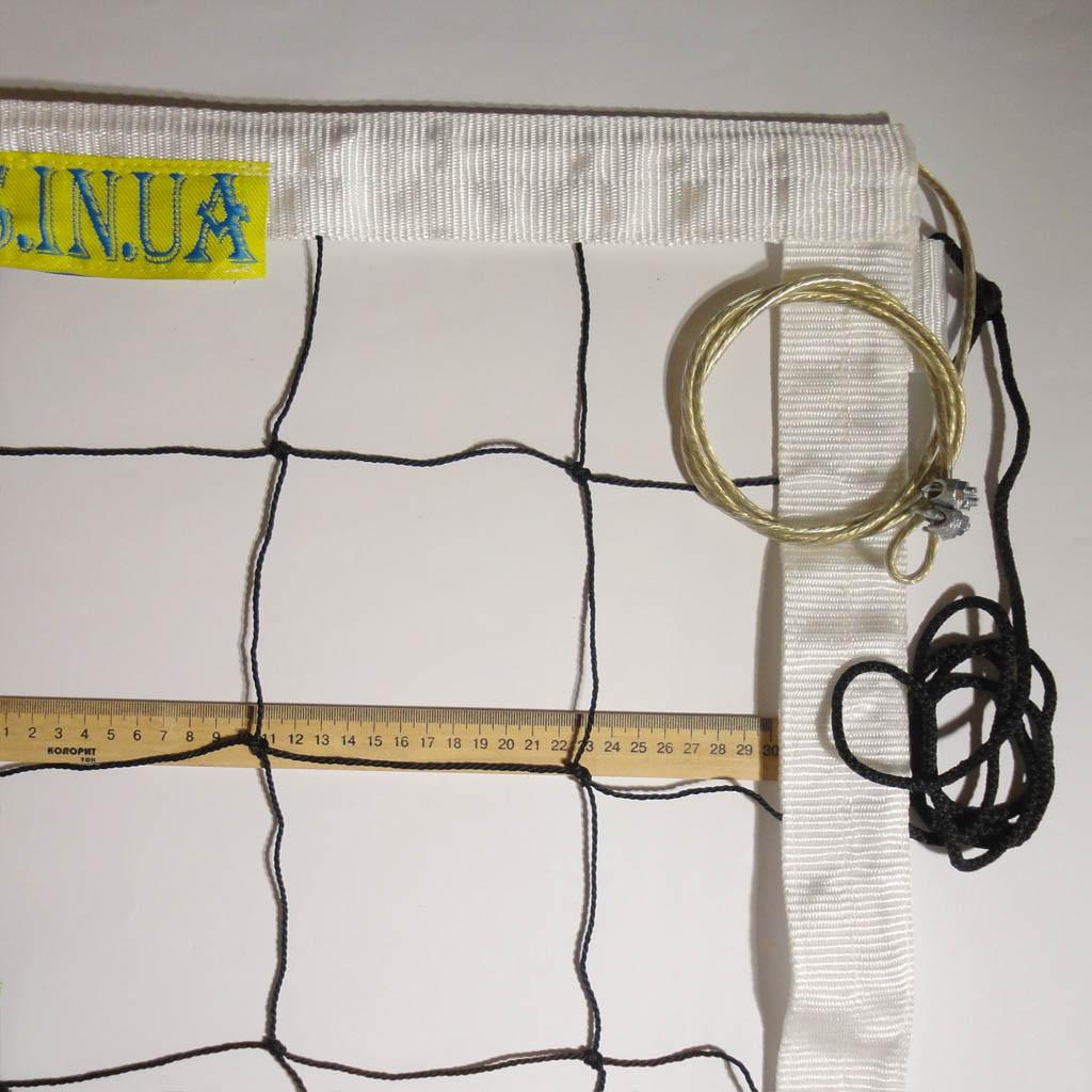 Сетка для волейбола «ПРЕМИУМ 12 НОРМА» с тросом черно-белая