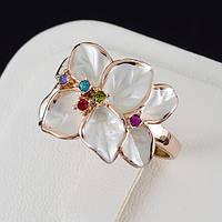 Потрясное кольцо с кристаллами Swarovski, покрытое золотом 0167 16 Белый