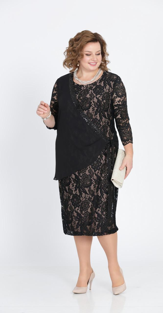 Платье Pretty-803 белорусский трикотаж, черный, 56