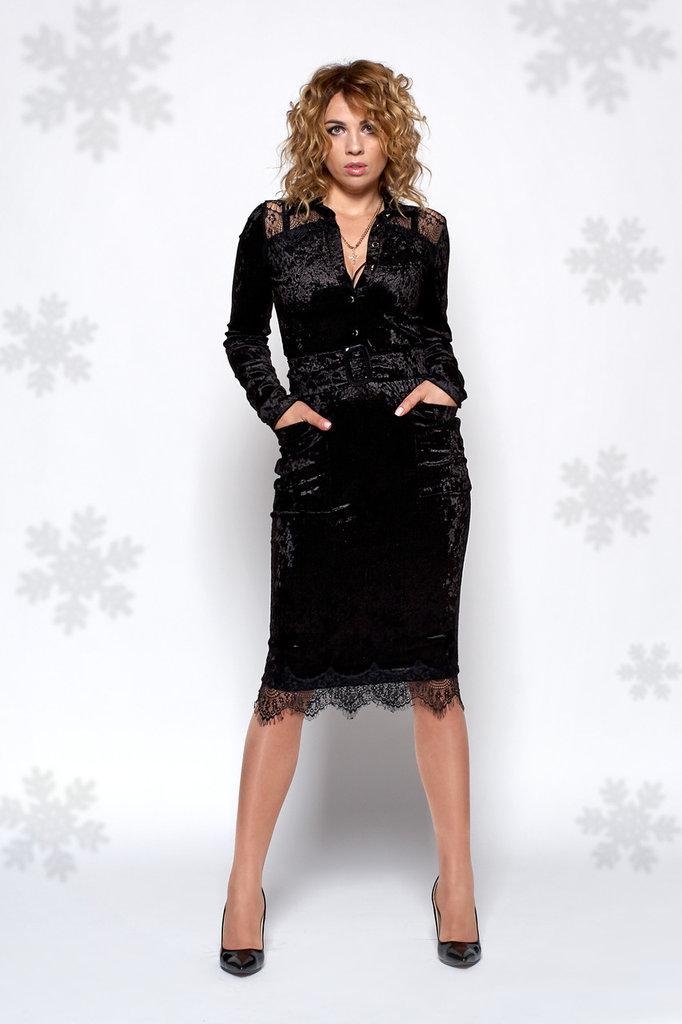 7359b9eda08 Нарядное бархатное платье черного цвета 0440-2. 465 грн. В наличии. Купить