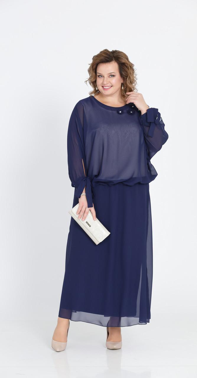 Платье Pretty-814/1 белорусский трикотаж, синий, 56