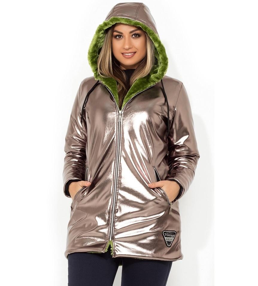 Куртка удлиненная на контрастном меху размеры от XL 5102 - Lace Secret - Магазин женского белья и одежды в Киеве
