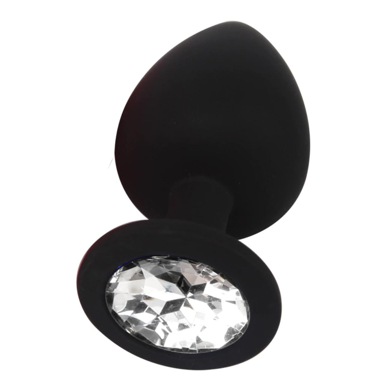 Силіконова анальна пробка Чорна з білим кристалом