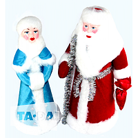 Новогодний набор дед мороз и снегурочка+подарок гирлянда 200 лампочек