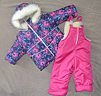 Зимний детский комбинезон на овчине для девочек от 1 до 4 лет, фото 1