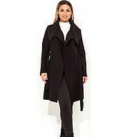 bf533b2fd60 Кашемировое черное пальто на запах с воротником размеры от XL 5104