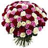 Разноцветный букет с розами «Ассорти 101 роза»