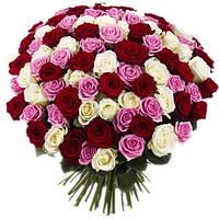 Разноцветный букет с розами «Ассорти 101 роза», фото 1