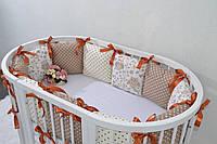 Бортики для детской овальной кроватки Совушки 11 подушек, простинка Индивидуальный пошив