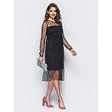 Элегантное двухслойное платье-миди с фатиновым верхом в крупные горошины черный, фото 2
