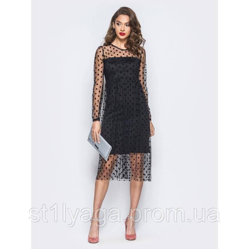 Элегантное двухслойное платье-миди с фатиновым верхом в крупные горошины черный