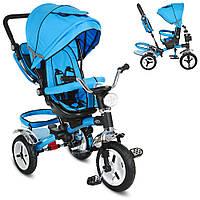 Велосипед M 3199-5HA  три кол.рез (12/10),колясочн.,поворот,муз.,свет,торм.,сумка,голубой