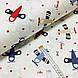 Ткань поплин самолетики голубые, красные и бежевые на белом (ТУРЦИЯ шир. 2,4 м) №33-142, фото 2