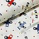 Ткань поплин самолетики голубые, красные и бежевые на белом (ТУРЦИЯ шир. 2,4 м) №33-142, фото 3