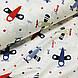 Ткань поплин самолетики голубые, красные и бежевые на белом (ТУРЦИЯ шир. 2,4 м) №33-142, фото 4