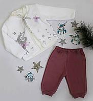 Костюм тройка (кофта+батник+штаны), трикотаж ТОНКИЙ НЕ ТЕПЛЫЙ, размер 6-18 месяцев, молочный+фрез, МАЛОМЕРИТ, фото 1