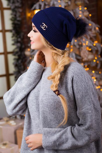 Молодіжна темно-синя шапка з бомбоном Miris