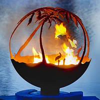 Камин очаг-шар Пеликаны под пальмами 900 мм