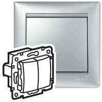 Выключатель без фиксации перекидной двухклавишный - Valena - 10 A - 250 В~ - алюминий