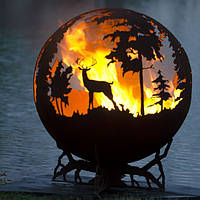 Камин очаг-шар Олень в лесу 900 мм