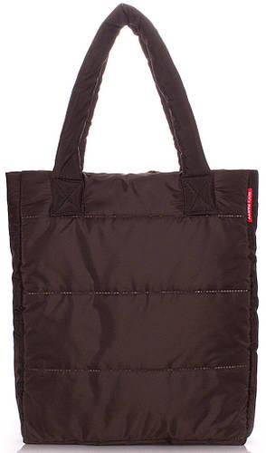 Удобная женская дутая вертикальная сумка на синтепоне POOLPARTY ns-3-brown коричневая