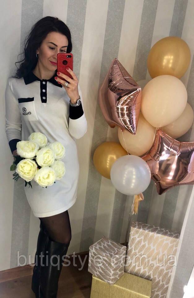 Трикотажное женское платье поло с воротником