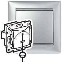 Выключатель без фиксации перекидной - Valena - со шнуром - 10 A - 250 В~ -алюминий