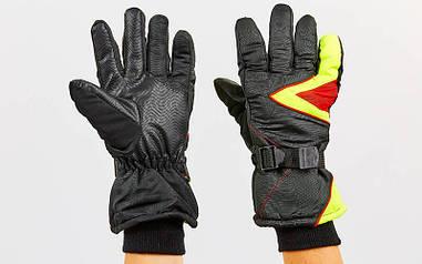 Перчатки горнолыжные теплые черный-лимонный-красный A-63