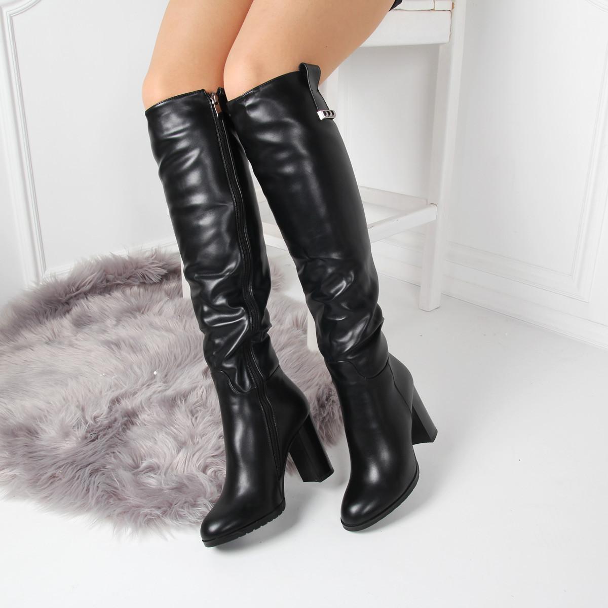 Зимние ботфорты на каблуке толстом каблуке мех вся длина