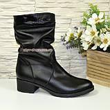 Ботинки женские демисезонные кожаные на устойчивом каблуке, фото 2