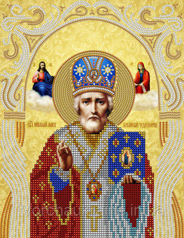 Схема на ткани для вышивания бисером Святой Николай Чудотворец. А-строчка