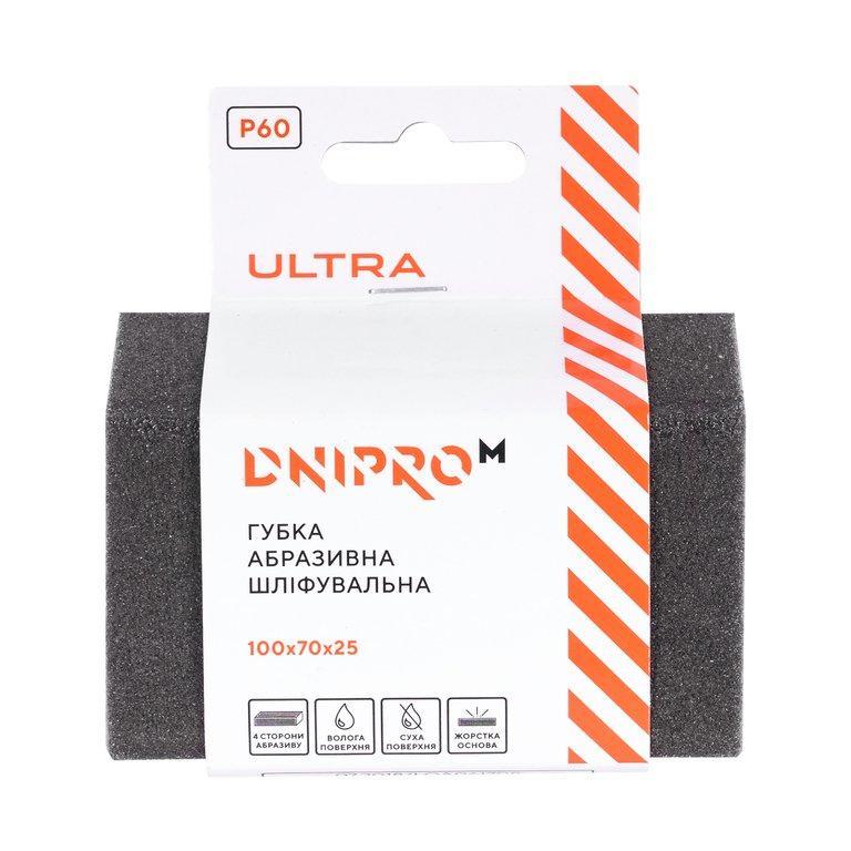 Губка абразивная шлифовальная Dnipro-M Р60 жесткая 100*70*25 мм